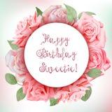 Marco floral con las rosas de la acuarela Feliz cumpleaños, tarjeta del día de San Valentín Fotografía de archivo libre de regalías