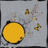 Marco floral de Grunge con las mariposas Fotografía de archivo