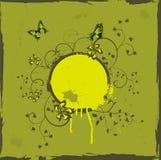 Marco floral de Grunge con las mariposas Imagenes de archivo