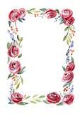 Marco floral de la acuarela Foto de archivo libre de regalías