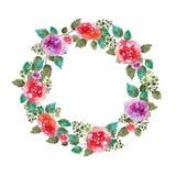 Marco floral de la boda de la guirnalda del vintage con las flores y la hoja color de rosa Tarjeta de felicitación Elementos a ma Imagenes de archivo