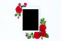 Marco floral de la endecha plana con los brotes de la tableta, rojos y beige de la rosa de flor en el fondo blanco Imagenes de archivo