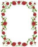 Marco floral de la foto de las rosas rojas Foto de archivo