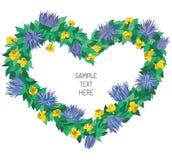 Marco floral de la tarjeta del día de San Valentín Fotos de archivo