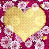 Marco floral de la tarjeta del día de San Valentín Imagen de archivo
