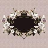 Marco floral de la vendimia con las rosas blancas Fotos de archivo libres de regalías