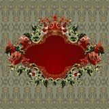 Marco floral de la vendimia con las rosas rojas Fotografía de archivo