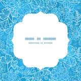 Marco floral del círculo de la textura del campo azul del vector Imágenes de archivo libres de regalías