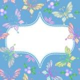 Marco floral del cordón con las mariposas Foto de archivo libre de regalías