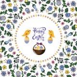 Marco floral del cuadrado con los p?jaros, los huevos y la cesta en el fondo transparente libre illustration
