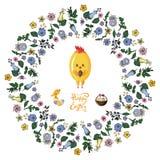 Marco floral del enredo con el pollo, el p?jaro, los huevos y la cesta en el fondo transparente libre illustration