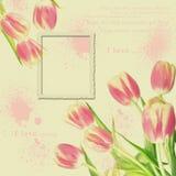 Marco floral del foto de la vendimia Foto de archivo libre de regalías