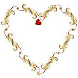 Marco floral del `s de la tarjeta del día de San Valentín del oro Foto de archivo libre de regalías