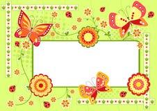 Marco floral del `s de los niños con la mariposa. libre illustration