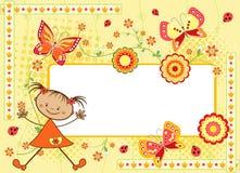 Marco floral del `s de los niños con la mariposa. Foto de archivo