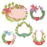 Marco floral del vintage elegante, sistema de etiqueta Imagen de archivo libre de regalías