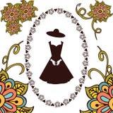 Marco floral dibujado mano alrededor del vestido Foto de archivo
