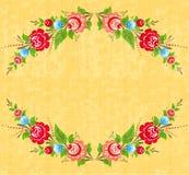 Marco floral en estilo popular stock de ilustración