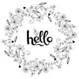 Marco floral exhausto de la mano con las letras Primavera, ejemplo del vector del verano stock de ilustración