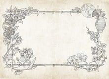 Marco floral japonés, en el pergamino Fotos de archivo