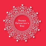 Marco floral para la celebración feliz del día de tarjetas del día de San Valentín Foto de archivo libre de regalías