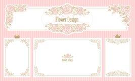 Marco floral real Sistema de fronteras de la flor Invitación de la boda del vintage Esquina linda de la bandera del web Imagen de archivo