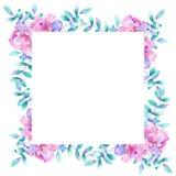 Marco floral rectangular de la acuarela Plantilla para el dise?o Perfeccione para casarse las invitaciones, tarjetas de felicitac ilustración del vector