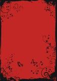 Marco floral rojo de Grunge con las mariposas Foto de archivo libre de regalías