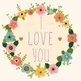 Marco floral - te amo Tarjeta feliz del día de tarjeta del día de San Valentín Fotos de archivo libres de regalías