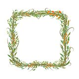 Marco formado cuadrado de hojas y de ramas ilustración del vector
