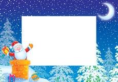 Marco/frontera de la foto de la Navidad con Papá Noel Imagenes de archivo