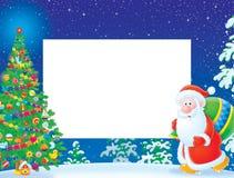 Marco/frontera de la Navidad con Papá Noel Fotografía de archivo libre de regalías