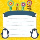 Marco/frontera lindos con vector adorable del pingüino libre illustration
