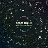 Marco futurista retro con el espacio, estrellas y Foto de archivo libre de regalías
