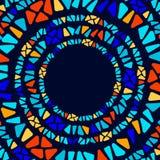 Marco geométrico del círculo del vitral del triángulo del mosaico colorido de la forma, vector libre illustration