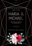 Marco geométrico oscuro elegante del diseño del vector de la boda con las flores Foto de archivo libre de regalías