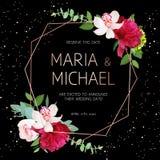 Marco geométrico oscuro elegante del diseño del vector de la boda con las flores Imagen de archivo libre de regalías