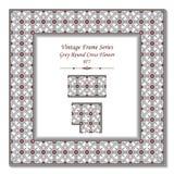 Marco 077 Grey Round Cross Flower del vintage 3D Imagen de archivo libre de regalías