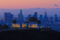 Marco Griffith Observatory em Los Angeles, Califórnia Foto de Stock Royalty Free
