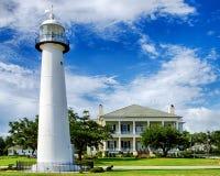 Marco histórico do farol em Biloxi, Mississippi imagens de stock royalty free