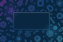 Marco horizontal azul de la bacteriología - ejemplo del esquema del vector ilustración del vector