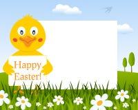 Marco horizontal de Pascua con el polluelo lindo stock de ilustración