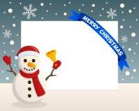 Marco horizontal del muñeco de nieve de la Navidad Imagen de archivo libre de regalías
