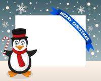 Marco horizontal del pingüino de la Navidad Foto de archivo libre de regalías