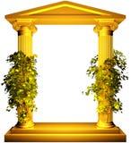 Marco iónico del oro con la vid ilustración del vector