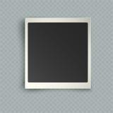 Marco inmediato en blanco vertical realista retro de la foto con la sombra e Foto de archivo