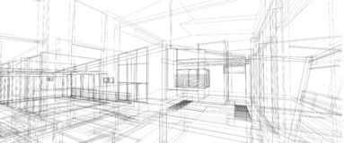 Marco interior del alambre de la perspectiva del concepto de diseño de espacio de la arquitectura 3d que rinde el fondo blanco ai fotos de archivo