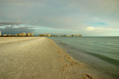 Marco Island before sunset. Beach view of Marco Island, Florida, Gulf of Mexico right before sunset Royalty Free Stock Image