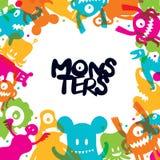 Marco lindo de los personajes de dibujos animados de los monstruos Fotografía de archivo libre de regalías