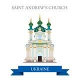 Marco liso da vista do vetor de Kyiv Kiev Ucrânia da igreja de St Andrew ilustração do vetor